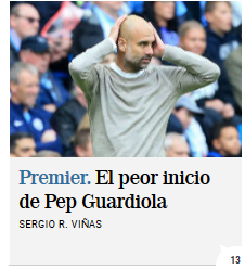 Pep Guardiola: Winter is Coming. Cae en el derbi de Manchester y se queda a 14 del líder de la Premier. La Premier Scree643