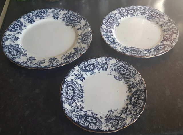 Can anyone help identify the age of these3 blue & white plates? 20210912