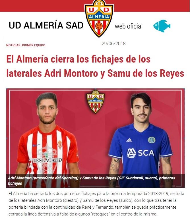 Altas y Bajas confirmadas Liga 1.2.3 Temporada 2018-2019 Almerz10