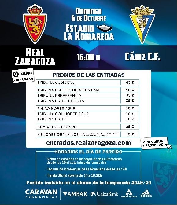 [J10] R. Zaragoza - Cádiz C.F. - Domingo 06/10/2019 16:00 h. #ZaragozaCádiz Cartel21