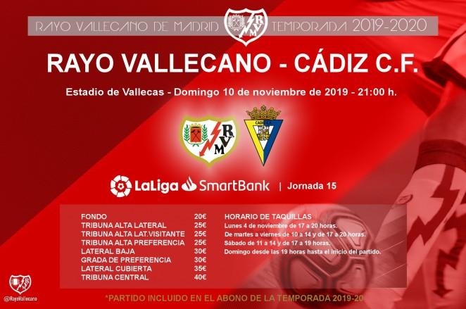 [J15] Rayo Vallecano C.F. - Cádiz C.F. - Domingo 10/11/2019 21:00 h. #RayoCádiz Cartel23