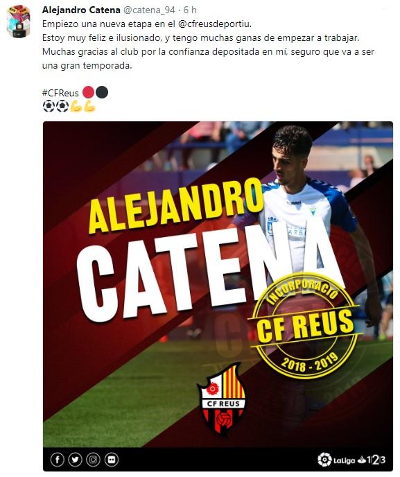 Altas y Bajas confirmadas Liga 1.2.3 Temporada 2018-2019 Catena10