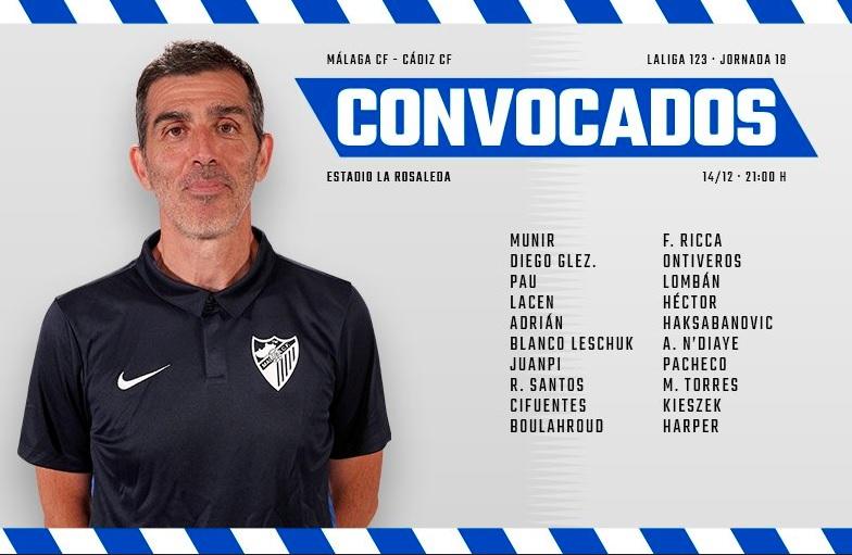 [J18] Málaga C.F. - Cádiz C.F. - Viernes 14/12/2018 21:00 h. #MálagaCádiz Convoc12