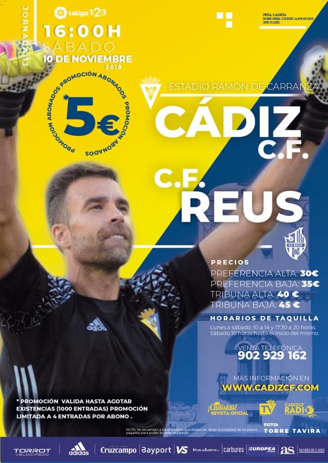 [J13] Cádiz C.F. - C.F. Reus D. - Sábado 10/11/2018 16:00 h. Czediz22