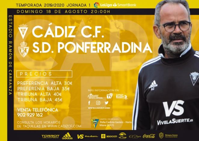[J01] Cádiz C.F. - S.D. Ponferradina - Domingo 18/08/2019 20:00 h. #CádizPonferradina Czediz56