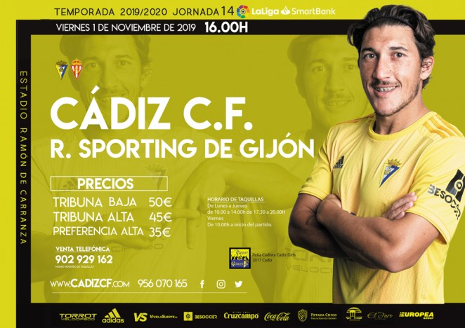 [J14] Cádiz C.F. - R. Sporting de Gijón - Viernes 01/11/2019 16:00 h. #CádizSporting Czediz61