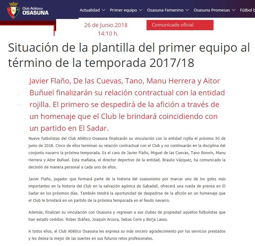 Altas y Bajas confirmadas Liga 1.2.3 Temporada 2018-2019 Osasun10