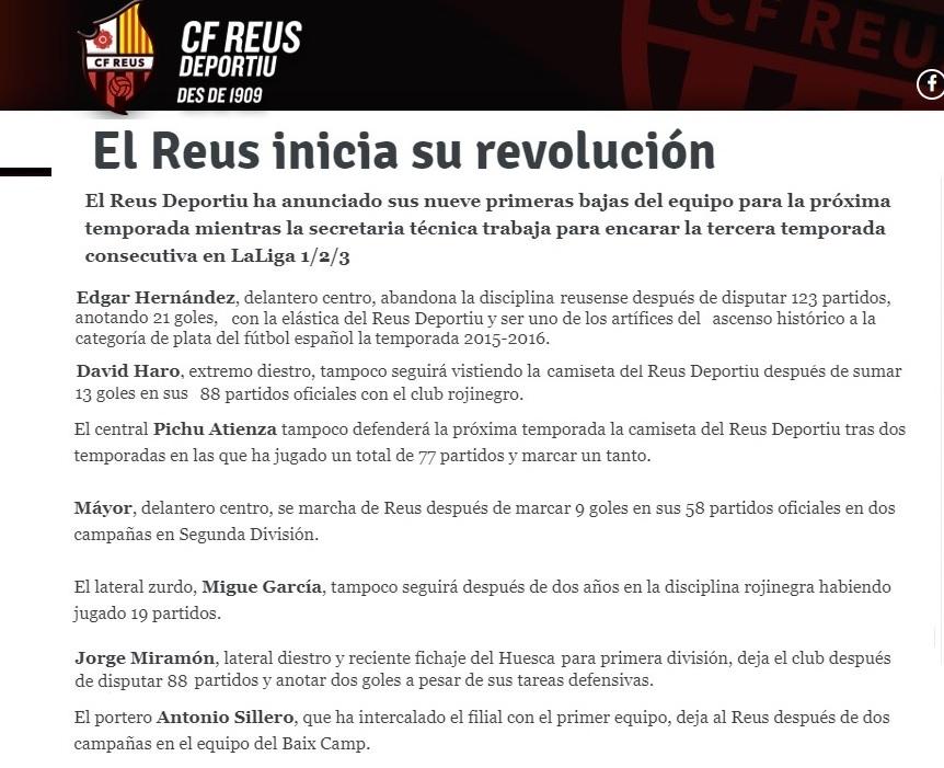 Altas y Bajas confirmadas Liga 1.2.3 Temporada 2018-2019 Reus_310
