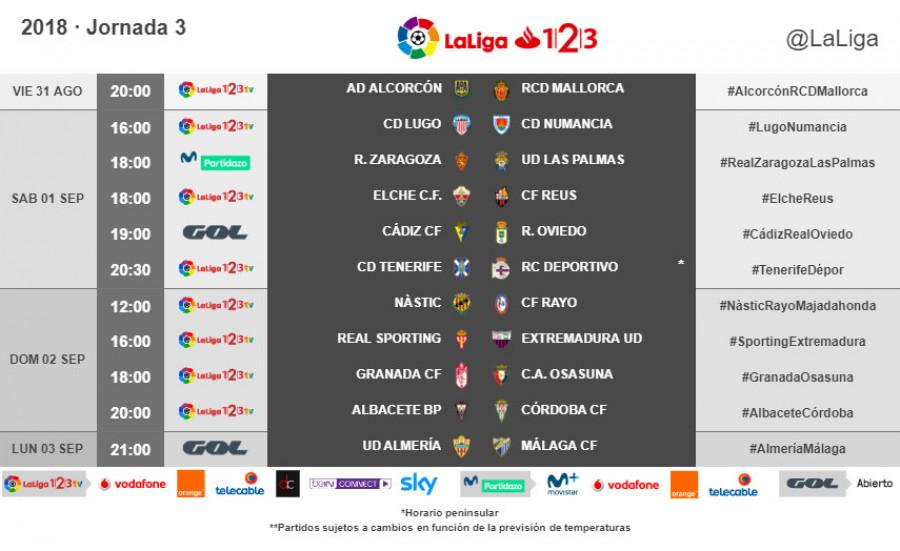 Horarios de partidos y televisiones Jornadas 1 a 5 W_900x12