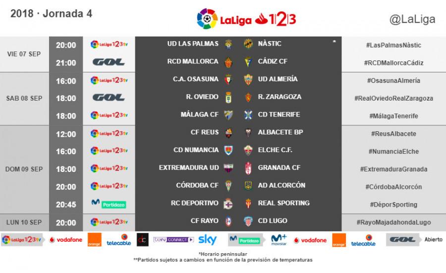 Horarios de partidos y televisiones Jornadas 1 a 5 W_900x13