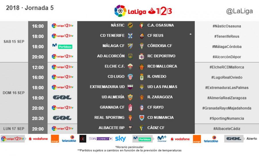 Horarios de partidos y televisiones Jornadas 1 a 5 W_900x14