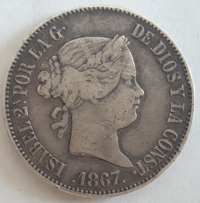 1 Escudo 1867. Isabel II. Madrid 1_escu10