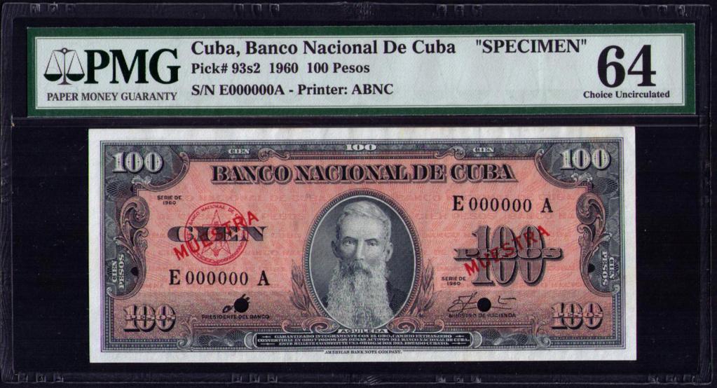 CUBA 100 PESOS 1960 MUESTRA Cuba_124
