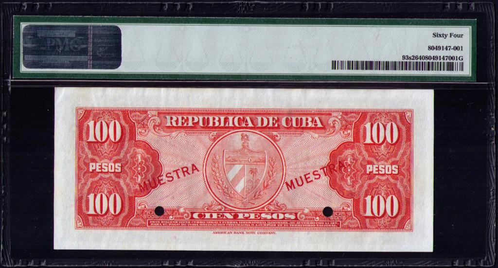 CUBA 100 PESOS 1960 MUESTRA Cuba_125