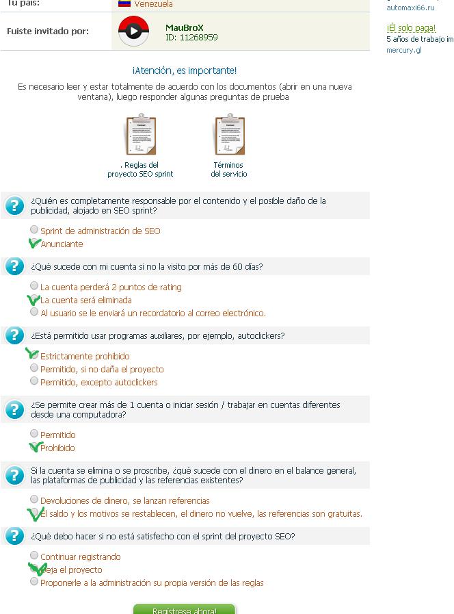 SprintSEO PTC Rusa Gane hasta 30 Rublos Diarios + Prueba de pagos-Reportese la usuario FRIDA de Perú para guiarle en la pagina! Pregun10