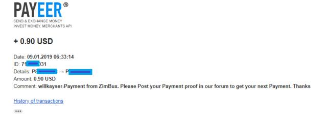 Primer pago de Zimbux 0.90$ por Payeer Primer23