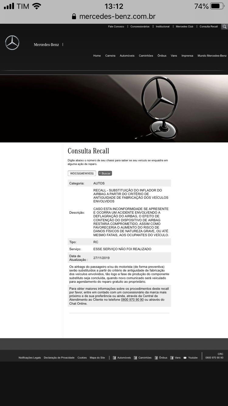 mercedes - Mercedes-Benz anuncia grande recall de veículos por falha no airbag 849bad10