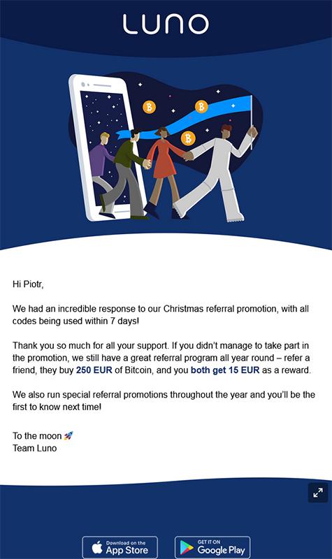 Luno - 15E za zakup 15E w BTC Luno10
