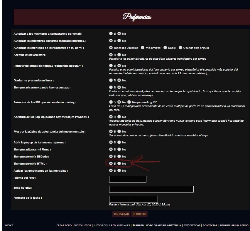 Permisos HTML en usuarios activados de forma automática. Inkeds10