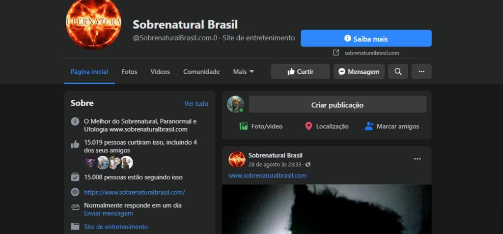 Canal Sobrenatural Brasil - Página no Facebook e Twitter Sobren10