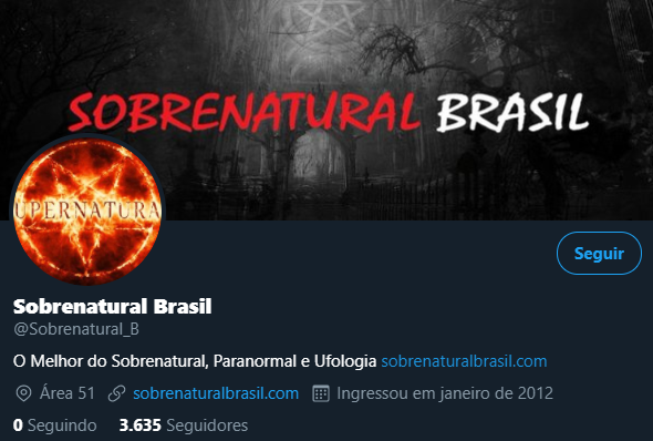 Canal Sobrenatural Brasil - Página no Facebook e Twitter Sobren11