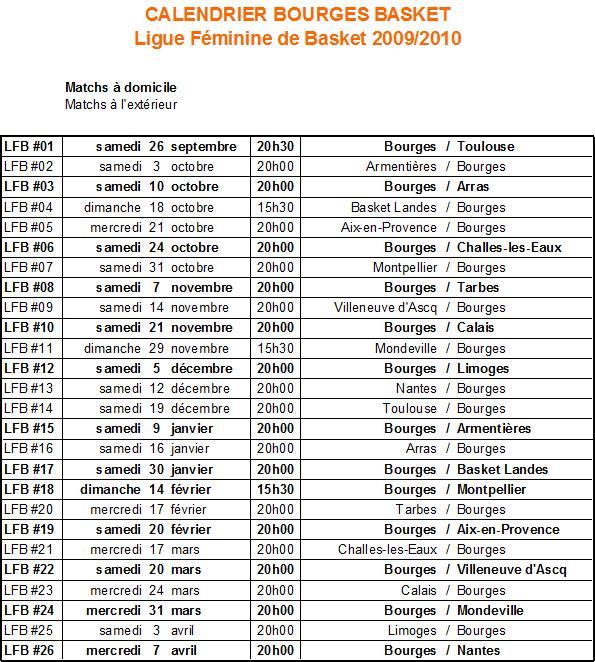 [LFB] Saison 2009-2010 : Bourges vice-champion de France Calend11