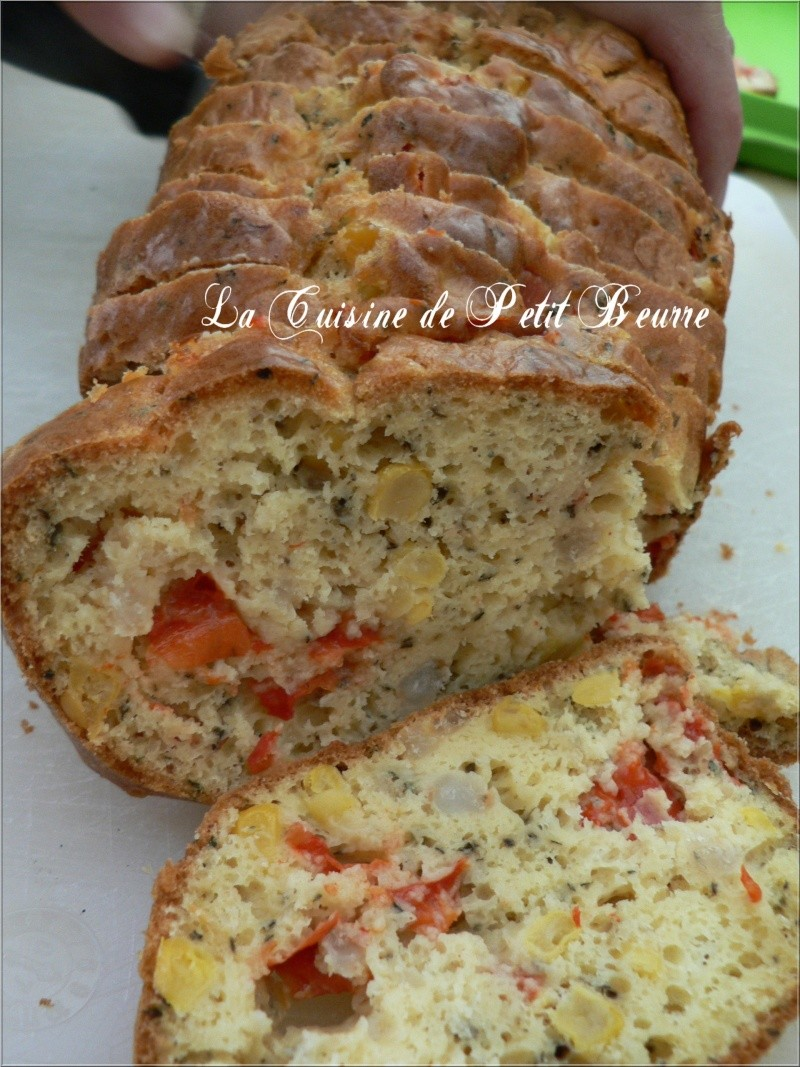 Cake aux Crevettes, maïs et poivron rouge Cake_c10