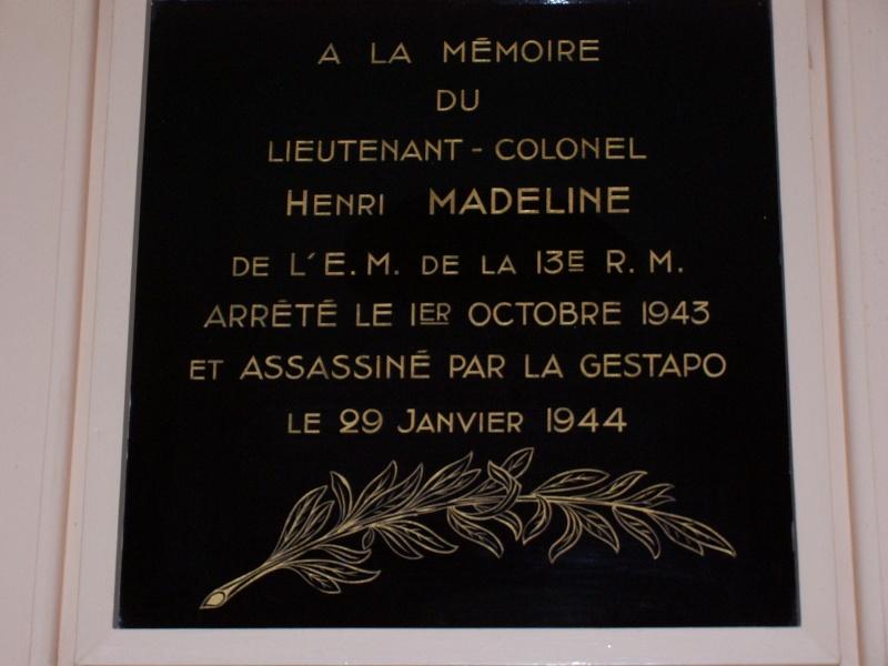 Plaque Lieutenant-Colonel MADELINE 100_3466