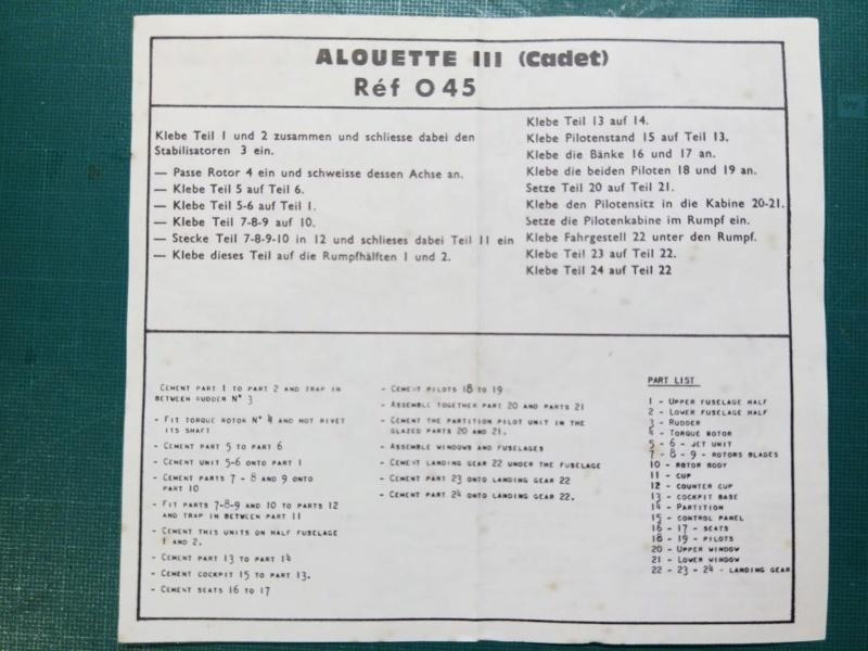 SUD AVIATION SA 319 Alouette III 1/100ème Réf CADET 045 Notice Img_2054