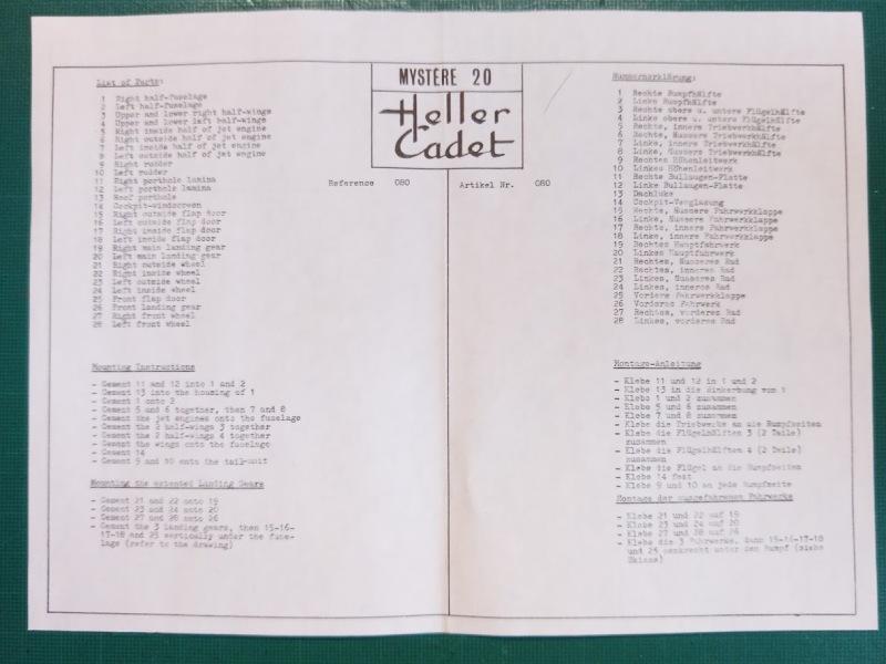 DASSAULT MYSTERE 20 1/100ème Réf CADET 041 Notice Img_2097