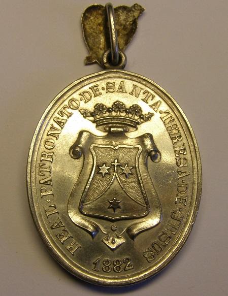 Medalla del Real Patronato de Santa Teresa de Jesús, año 1882. Med12_13