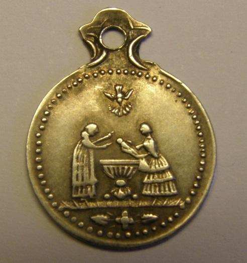 Curiosa medalla de bautismo hecha por encargo, año 1860. Med12_15