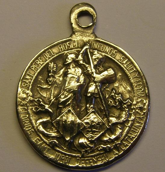 Curiosa medalla de Sant Pere del Bosch y Sant Jordi. Principios siglo XX. Med12_24