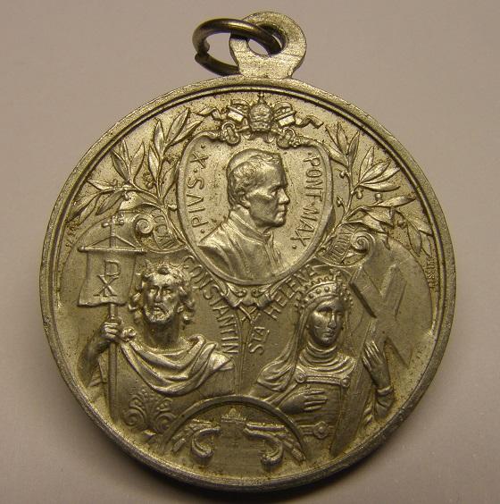 Bonita medalla del Papa Pio X, XVI siglos del Edicto de Milán, principios siglo XX. Med25_15