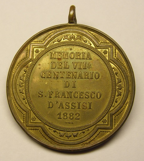 Medalla de San Francisco de Asís, VII centenario, año 1882. Med8_115
