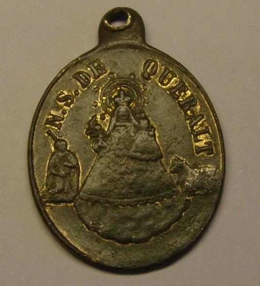 Medalla de Nª Sª de Queralt y S. Marcos Evangelista, finales siglo XIX. Med_1512