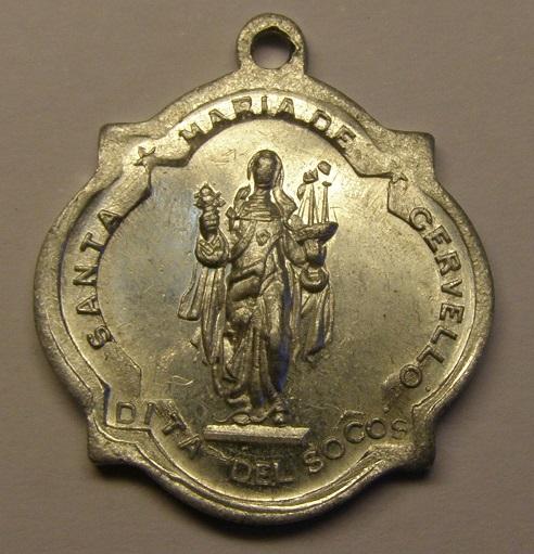 Medalla de Santa Maria de Cervelló, o dels Socos. Cervelló. Finales siglo XIX o principios del XX. Med_1818