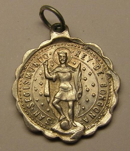 Medalla San Segismundo Rey de Borgoña, y San Miguel de los Santos, final s. XIX Medall46