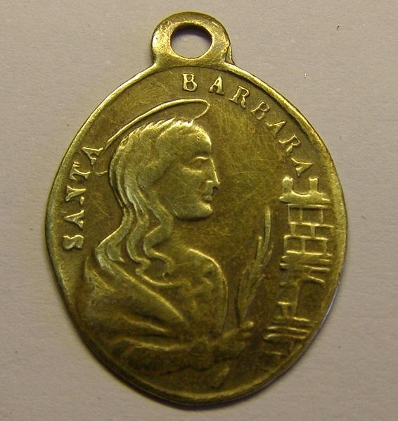 Medalla de Nª Sª de Butsènit y Sª Bárbara, Lleida, Segrià, finales siglo XIX. (AM) Tc_12_11