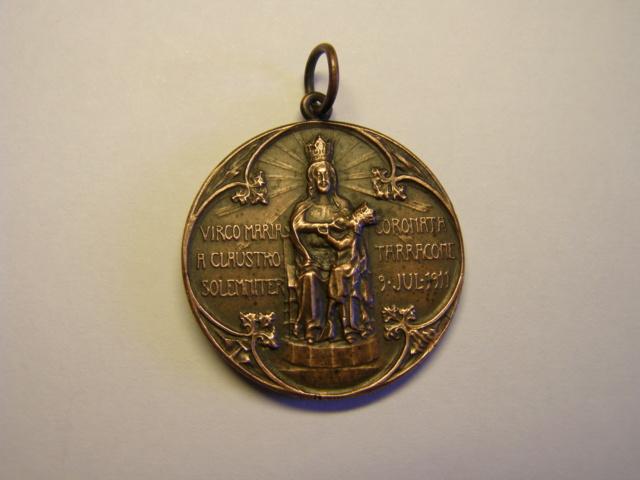 Medalla de coronación, Virgen del Claustro, Tarragona, año 1911. (AM) Tc_15_14