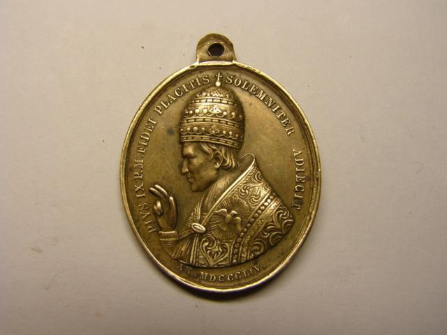 Medalla Papa Pio IX, año 1854, dogma de la Inmaculada. (R.M. SXIX-O99) Tc_1_210