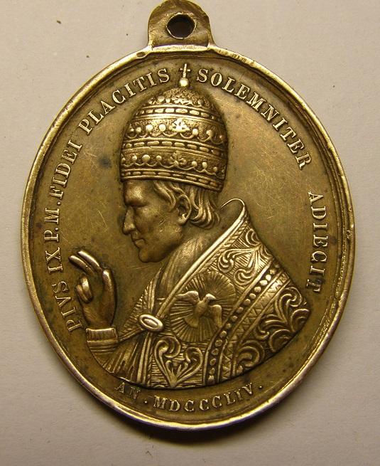 Medalla Papa Pio IX, año 1854, dogma de la Inmaculada. (R.M. SXIX-O99) Tc_1_212