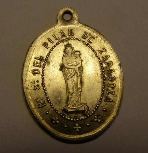 Medalla de la Virgen del Pilar, siglo XIX. Reverso en catalan. Tc_25_29