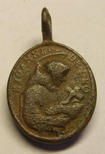 Medalla de San Juan de Dios y San Rafael, siglo XVIII Tc_26_11