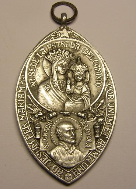 Preciosa medalla de Nª Sª de la Estrada, o del Camino, S. Ignacio de Loyola, y San José. Siglo XX. Tc_4_110