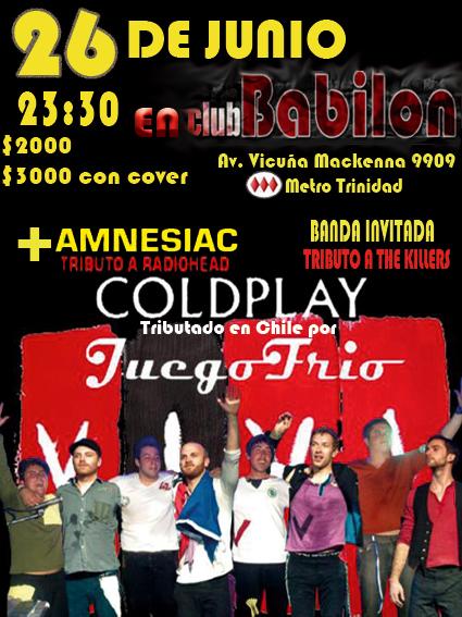 Juegofrio, Tributo Chileno a Coldplay en Pub Babilon Flyer-10