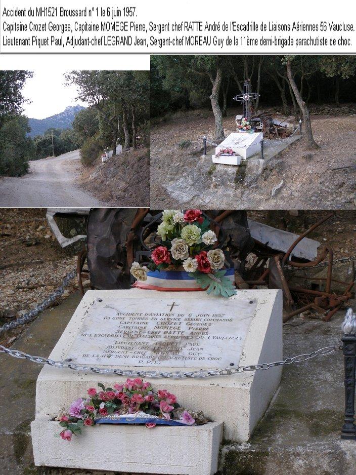 Hommage et Souvenir BROUSSARD MH 1521 N°1 en 1957 accident du 6 juin 1957 Mh_15210