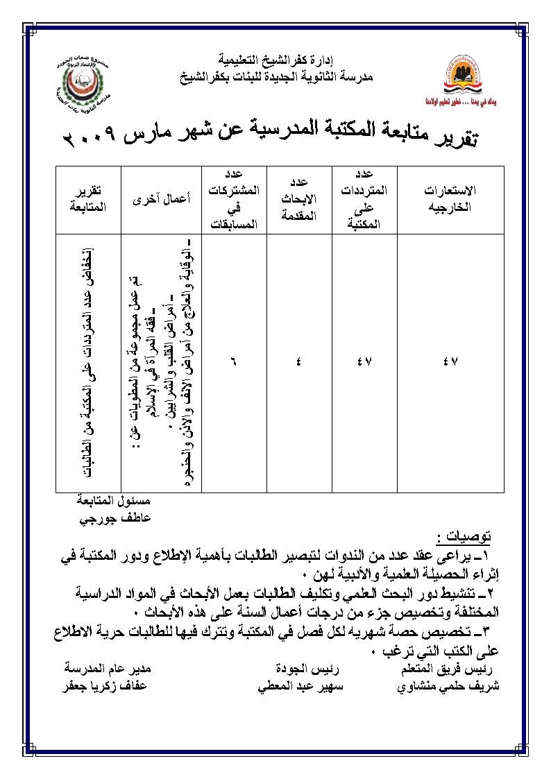 التقرير الختامي عن مكتبة المدرسة عن العام الدراسي 2009/2008 Uooooo11