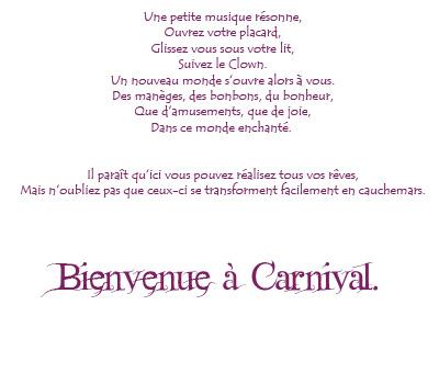 Bienvenue à Carnival Texte11
