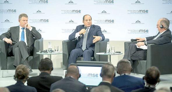 الرئيس السيسى خلال مداخلته أمام مؤتمر ميونيخ 2019-610